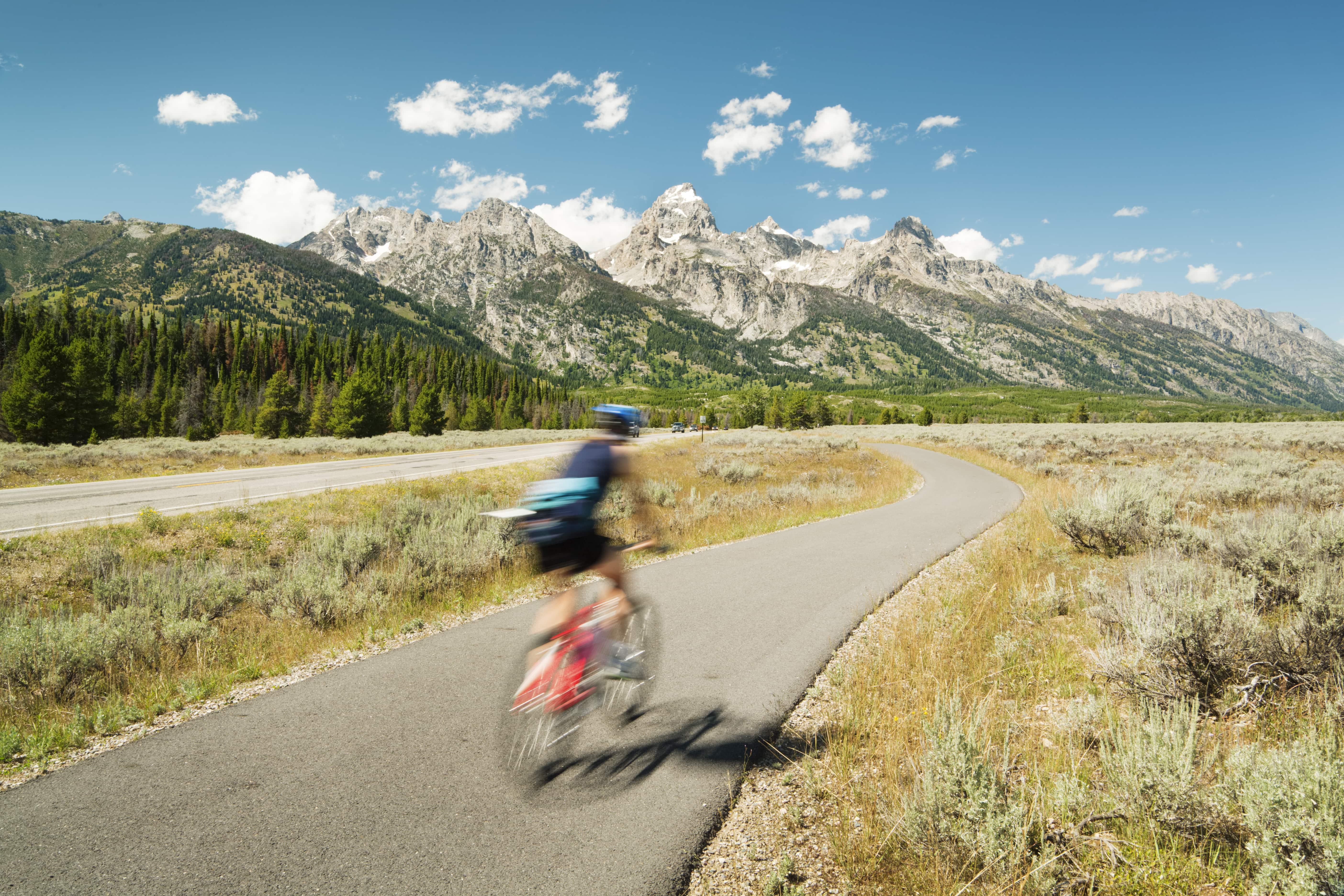road biking in grand teton