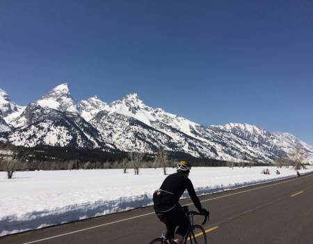spring bike riding in grand teton