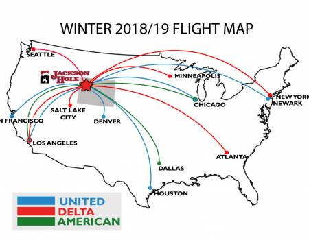 Winter Jackson Hole Flight Map 2018-19