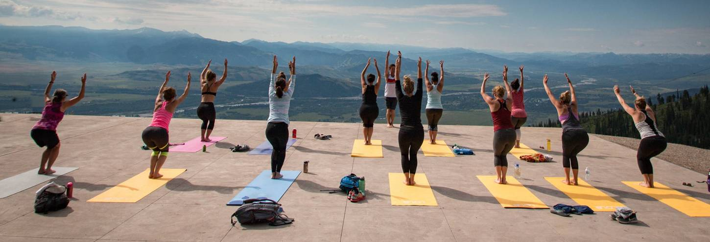 yoga on the deck at jackson hole mountain resort