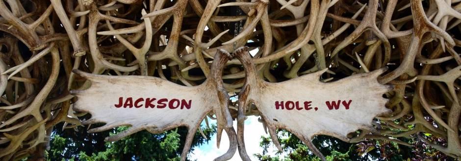 Close up shot of Jackson Hole's iconic antler arches.