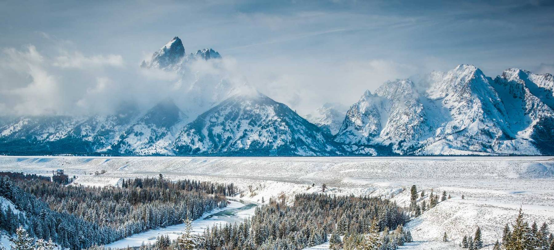 Tetons & Snake River In Winter