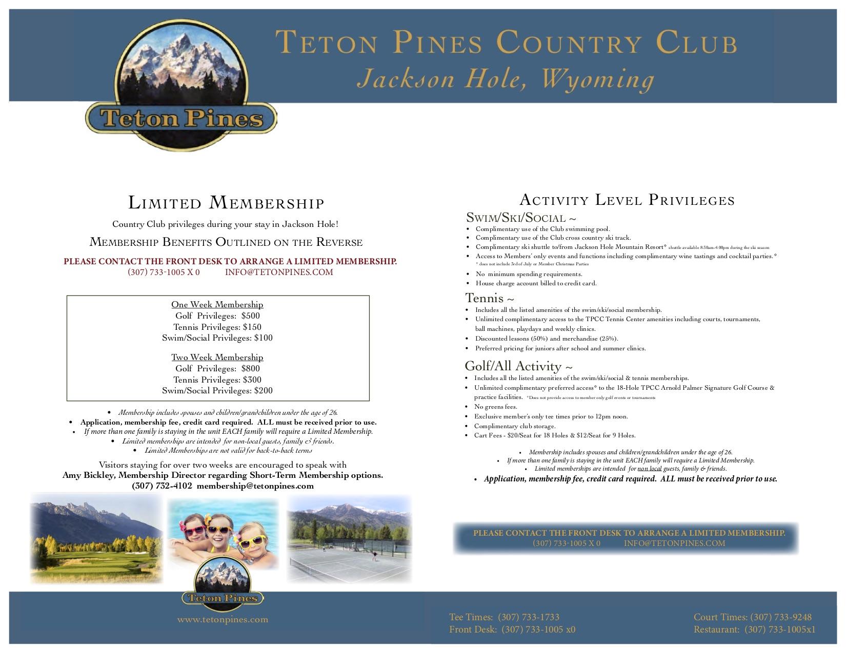 Teton Pines Limited Membership