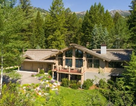 Aerial shot of Wildflower House in Jackson Hole, Wyoming